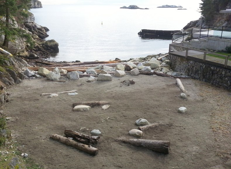 The finished product. At the end of the day we composted 1.75 tonnes of wood debris.  Too bad this beach is private!