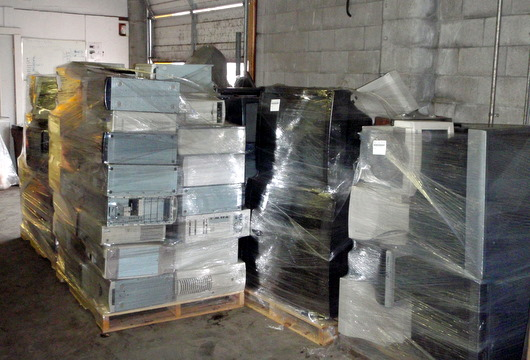 Encorp\'s collected electronics and TV\'s awaiting transportation to the recycling and processing plant.