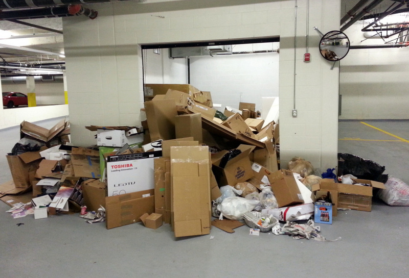 A new condo development opened in Vancouver without the proper recycling bins in place, and Green Coast was called in to clean-up the ensuing mess. We recycled several yards of cardboard and paper from this project!