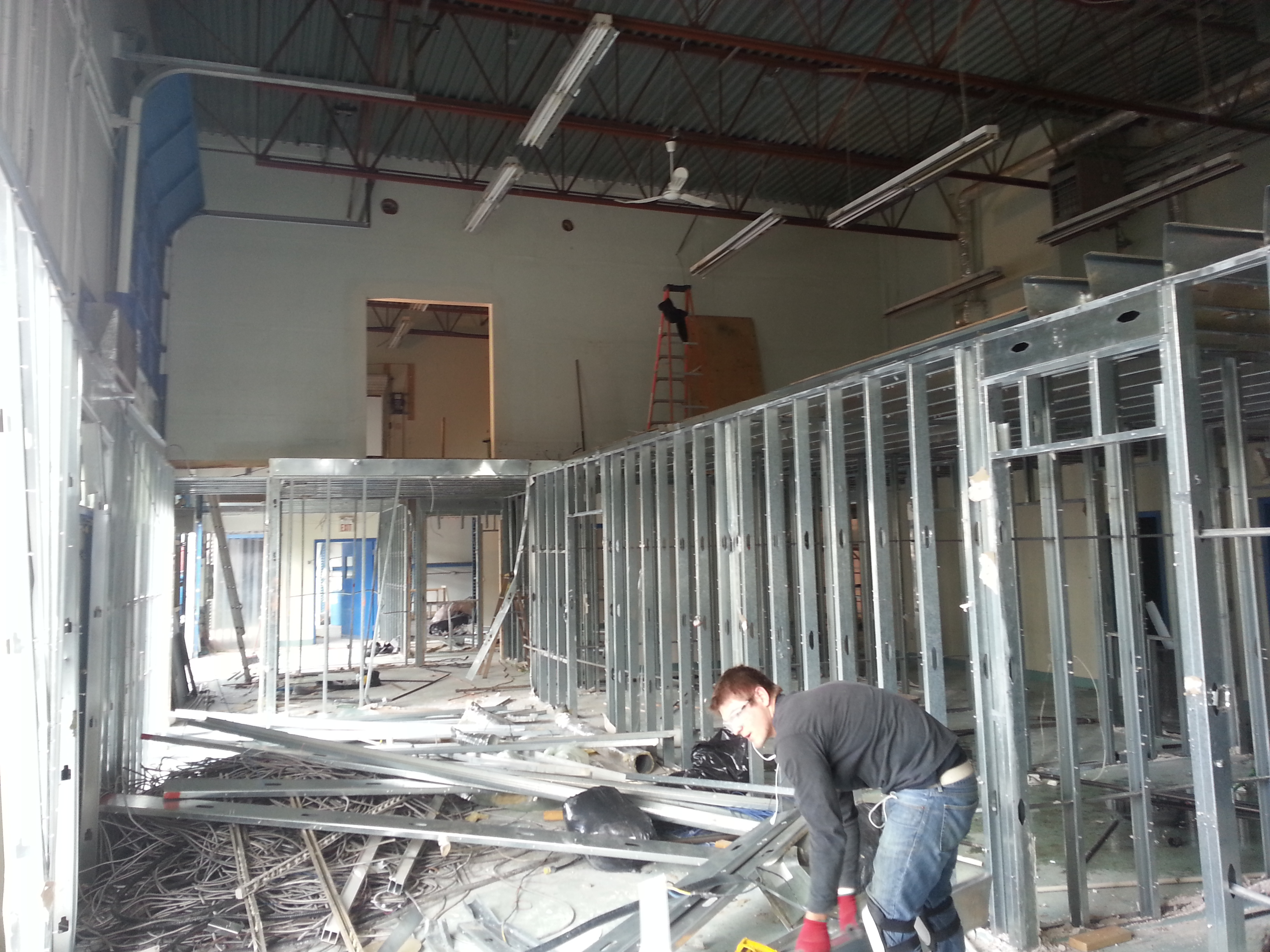Nothing but the metal framing remaining for demolition.