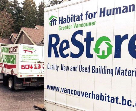 green coast rubbish habitat for humanity truck