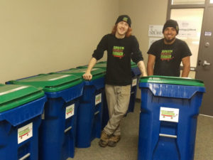Sean and Karim with recycle bins doing commercial junk removal