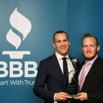 Eamonn and Cein Duignan celebrate their BBB Torch Award win in the Green category.