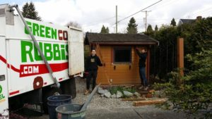 deconstructing a shed in a backyard in vancouver